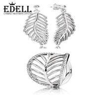 afrikanischer smaragdring großhandel-EDELL100% 925 Sterling Silber Blatt verlässt Zirkon hohlen eleganten Ring elegant und Ohrstecker Factory Outlet