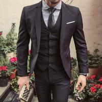 ingrosso cappotto nero per lo sposo-Nero Slim Fit Uomo Sutis 2018 Scintillante Smoking smoking dello sposo per la festa nuziale Cappotto giacca a tre pezzi Ultimo disegno Giacca Blazer