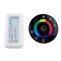 12v led kontrolör dokunmatik dimmer toptan satış-Yuvarlak Led Dokunmatik RGB Denetleyici 18A Kablosuz LED Topu Denetleyicisi RF Dokunmatik Panel RGB Şerit için Dimmer RGB Uzaktan Kumanda LED