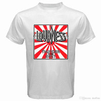ingrosso cotone bianco t-shirt-China Style Fashion Rock Novità LOUDNESS Thunder in The East Rock Band Legend T-shirt bianca da uomo taglia S-3XL