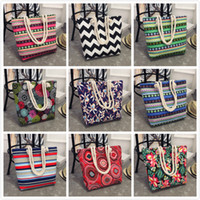 Wholesale print multiple - 2018 New Multi Colors Beach Bag explosion models simple wild shoulder bag wavy stripes print multiple style canvas bag Linen Rope Handbags