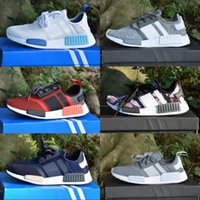Wholesale gray men shoes - With Box NMD _R1 Primeknit Runner 2019 Running Shoes S79162 S75234 Black Gray Blue Men Women Cheap Shoes Fashion Sneakers With Box