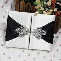 ingrosso inviti di nozze di spilla-2018 Customized Luxury Wedding Portafogli in seta con scatola d'invito con spilla brillante dupioni regalo di nozze in seta