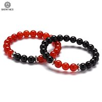 красные прокладки оптовых-Couples Distance Bracelet Classic Stainless Steel Spacers Natural Stone Red Carnelian And Black Onyx Bracelets For Women Men