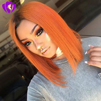 Wholesale bob red ombre wigs online - Hotselling black roots ombre orange color Short Bob Wigs Brazilian full Lace Front Wig synthetic heat resisatant hair For Black Women