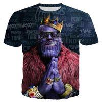 ingrosso tende per il ventilatore-Avengers Infinity War Thanos Hood Novità Moda Uomo / Donna Top 3d Stampa T-Shirt Unisxe Divertente Maniche corte Tees 3D T-shirt N300