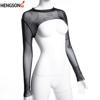 camiseta preta transparente venda por atacado-Verão Sexy Top Ladies Tops Ver Através Curto T-shirt de Malha O Pescoço de Manga Longa Sheer Preto Transparente T-shirt