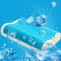 almohada azul fresco al por mayor-Brand New Memory Foam Orthopaedic Sleep Blue Cooling Comfort Gel Cama Almohada Almohada