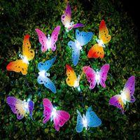 ingrosso decorazione farfalle giardino-2018 Hot 12 LED Solar Powered Butterfly luce Fibra Ottica Fata String Outdoor Garden Lights lampada Holiday Festival Party Decor