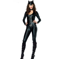 Wholesale sexy leather cat woman costume online - New Design Faux Leather Fox Suit Tight Bodysuit Role Play Stage Drama Costume Sexy Jumpsuit Low Collar Jumpsuit Nigthclub Wear