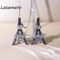 Wholesale 18k ct necklace resale online - LASAMERO CT k White Gold Round Cut Center Diamond Pave Set Eiffel Tower Natural Diamond Pendant Necklace