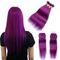 Wholesale 12 inch purple hair resale online - Beau Diva Purple Bundles With Closure Remy Peruvian Straight Hair With Closure Human Hair Bundles With Lace Closure