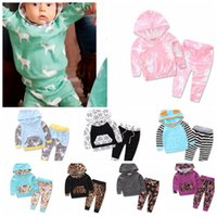 Wholesale Cute Deer - Kids Tops Pants Outfits Set Hoodie Cute Animals Kids Baby Clothes Set Warm Outfits Deer Baby Boys Girls Christmas Clothes 2pcs set KKA3660