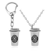 Wholesale cup chain settings wholesale - Trendy 3D Emulational Coffee Cup Charm Pendant Hip Hop Necklace Keychains Set Creative BFF Friendship Jewelry Gift For Friends