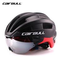 Wholesale tt helmets - Cairbull Aero Adult Goggles Helmet Bicycle Racing Time Trial Helmet Sports Safety In-mold TT Lens Helmets M L 54-62cm Glasses TK02