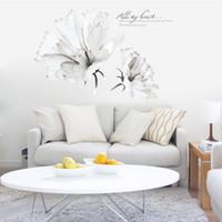 ingrosso decorazione domestica degli adesivi della parete della camera da letto-due grandi fiori bianchi adesivi murali decalcomanie donne casa soggiorno camera da letto negozio di arredamento semplice modello rimovibile carta da parati murale