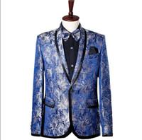 ropa de vestir para hombre para la boda al por mayor-Star style coreano etapa azul ropa para hombres traje de novio conjunto con pantalones 2018 mens trajes de boda cantante de traje formal vestido de corbata