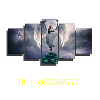 Wholesale oil painting goddess - Angel,peace Goddess Skulls ,5 Pieces The Latest Most Popular High-definition Canvas Printed Home Decorative Art  Unframed   Framed