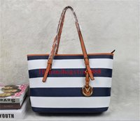 Wholesale Striped Tote Bags - Women casual rivet stripe Handbags MICHEAL KALLY fashion women famous brand designer luxury bags PU leather striped travel bag bags 2001