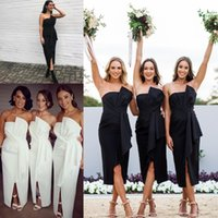 Wholesale Navy Strapless - Babyonline Special Summer Beach Boho Bridesmaid Dresses Strapless Pleats Floor Length Split Maid of Honor Gowns BA9125
