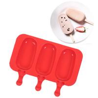moldes para hornear helados al por mayor-1set silicona forma original moldes con helado de palo moldes de silicona fabricante de paletas de hielo molde del cubo para hornear alimentos congelados herramientas