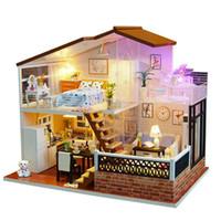 dollyhouse mobilya yapımı toptan satış-DIY Dollhouse Minyatür Bebek Evi Mobilya ile DIY Kabin Sunligh Çocuk Yetişkin Model Oluşturma Setleri Dollhouse