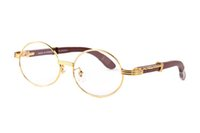 Wholesale mens wood sunglasses online - bamboo wood sunglasses for mens luxury designer round sunglasses rimless driving buffalo horn glasses brown clear lenses eyeglasses