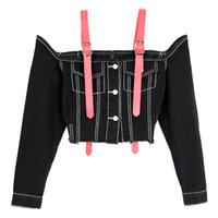 ingrosso fuori denim corto-2018 Donne Sexy Off spalla Denim Top Slash Neck Suspender Short Jeans Jacket Cappotti Vogue manica lunga blu Jeans neri Camicette