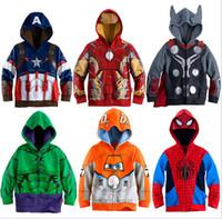 sweatshirt çocuklar ceketler toptan satış-Erkek Hoodies Avengers Marvel Süper Kahraman Iron Man Thor Hulk Kaptan Amerika Örümcek Adam Kazak Erkek Çocuk Karikatür Ceket 3-8 T için Y1892907