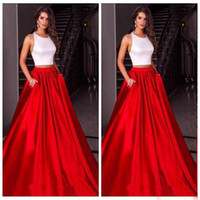 Wholesale Long Silver Cross - Cheap Chinese Halter Luxury Red Skirt Prom Dresses Satin Custom Formal Underpart Dresses Evening Wear Party Gowns