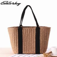 Wholesale Shoulder Bag Minimalist - Women Japanese Minimalist Woven Tote Straw Summer Handabag All-match Commuter Beach Bag