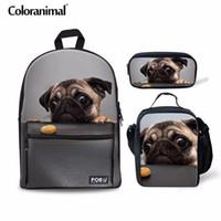 kız sırt çantaları köpekleri toptan satış-Coloranimal 3 Adet Set Genç Kız Erkek Okul Çantası Çocuk Sırt Çantası Sevimli Pug Köpek Baskı Birincil Öğrenci Büyük Kapasiteli Geri Paketi