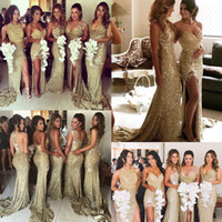 Wholesale glamorous blue - 2018 Glamorous Mermaid Gold Rose Bridesmaids Dresses Mixed Styles Side Split Bridesmaid Dress For Maid Of Honor Plus Size SB189