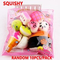 Wholesale bread fruit - 10pcs lot squishies toy Slow Rising Squishy Rainbow sweetmeats ice cream cake bread Strawberry Bread Charm Phone Straps Soft Fruit Toys