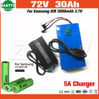 Wholesale wholesale e bike - 5Pcs Lot Lithium 72v 30Ah E-Scooter Battery 2800w Use Samsung 18650 Cell with 84v 5A Charger 50A BMS E Bike Battery 72V