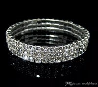 Wholesale cheap bangles jewelry - Rows 3 Tennis Bracelet Elegant Stretch Bridal Bangle Silver Rhinestones Cute Prom Homecoming Wedding Party Jewelry Bracelet Cheap In Stock