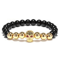 ingrosso gioielli freddi della mano-Nero naturale pietra 4 colori metallo perline braccialetto Mens Cool Biker Braclet per gli uomini mano lusso teschio testa gioielli accessori all'ingrosso