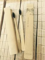 ingrosso spazzole di bambù trasporto libero-Spazzolino da denti di bambù Spazzolino da denti morbido Materiale di bambù naturale puro Tongue Cleaner Spazzola di bambù Spazzolino da denti Kit da viaggio Spazzola con scatola nave libera