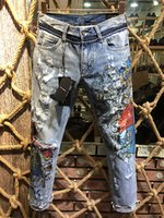 panel azul al por mayor-Pantalones de Blue Jeans de los hombres de la motocicleta Biker Men Washing para hacer The Old Fold Male Pantalones Denim de la pista ocasional