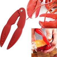 ferramentas cracker crab venda por atacado-Marisco vermelho Esmaltado Caranguejo Cracker Ferramenta Marisco Lobster Cracker marisco alicate Clips de Lagosta Utensílios de Cozinha WX9-453