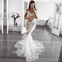Wholesale beach wedding dress sheer real resale online - Dubai Arabic Luxury Sparkly Mermaid Wedding Dresses Sexy Bling Beaded Lace Applique High Neck Illusion Long Sleeves Chapel Bridal Gowns
