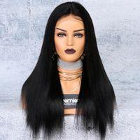 natürliches yaki haar großhandel-8a Lace Front Perücken brasilianische Remy Echthaar Yaki gerade 250% Dichte 4,5