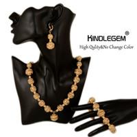 indische schmuckringe großhandel-ganze saleAfrican Perlen Schmuck Sets Indian Gold Farbe Schmuck Sets Luxury Statement Choker Halskette Armband Ring Modeschmuck