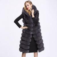 меховая одежда оптовых-Winter Woman Long Faux Fur Vest High Quality 11 Lines Hooded Female Fur Clothing Warm Outwear