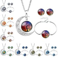 Wholesale middle child - Tree of Life Glass Cabochon Necklace Bracelet Earrings Jewelry Sets Silver Moon Time Gemstone Cabochon Jewelry for Women Child Drop Shipping