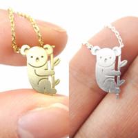ingrosso ciondolo da orsacchiotto di koala-Ciondolo con collana a forma di animale a forma di piccolo orso e ramo di koala in oro