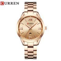 часы из розового золота для дам оптовых-CURREN 9007 Rose Gold Watch Women Quartz Watches Ladies Top  Female Wrist Watch Girl Clock