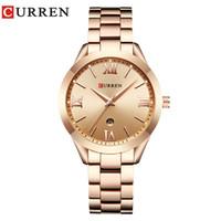 curren gold achat en gros de-CURREN 9007 Rose Montre En Or Femmes Montres À Quartz Dames Top Marque De Luxe Femelle Montre-Bracelet Fille Horloge