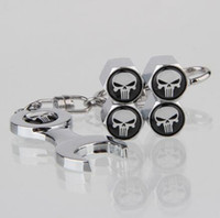 Wholesale Tire Skull - Car Wheel Tire Valve Dust Caps with Mini Spanner & Keychain Tire stem Covers SKULL