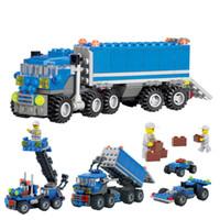 Wholesale toys for children trucks online - 163pcs Plastic Building Blocks Kids Child Educational Toys for Children Dumper Truck DIY Kids Intelligent Baby Toys Toy Block